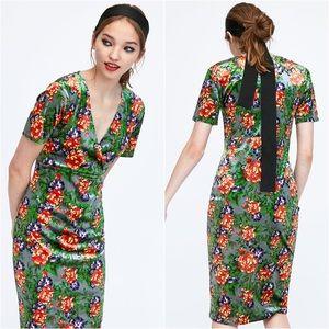 Zara Green Floral Velvet V Neck Midi Dress
